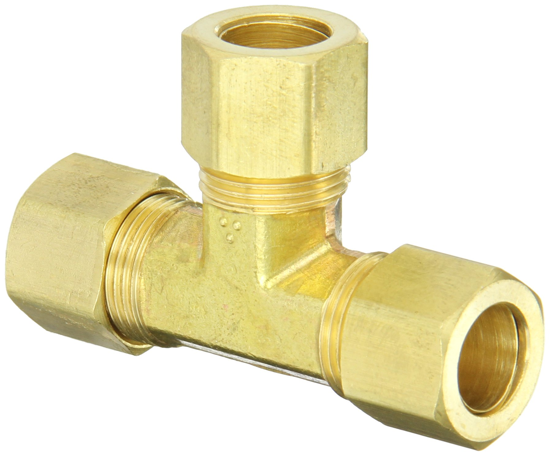 Anderson Metals 50064 Brass Compression Tube Fitting, Tee, 1/2'' x 1/2'' x 1/2'' Tube OD