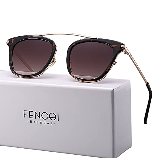 9cd9878951 FENCHI Sunglasses Women Metal Glasses Driving Fashion Brand Design New  Sunglasses (lens brown gradient