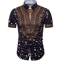 MODOQO Men's Short Sleeve African Shirt Summer Casual Slim Fit Print Pullover T-Shirt