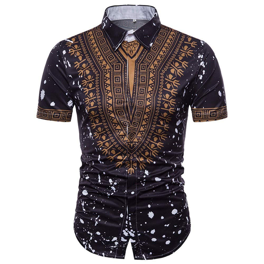 MODOQO Men's Short Sleeve African Shirt Summer Casual Slim Fit Print Pullover T-Shirt(Black,CN-3XL/US-XL) by MODOQO