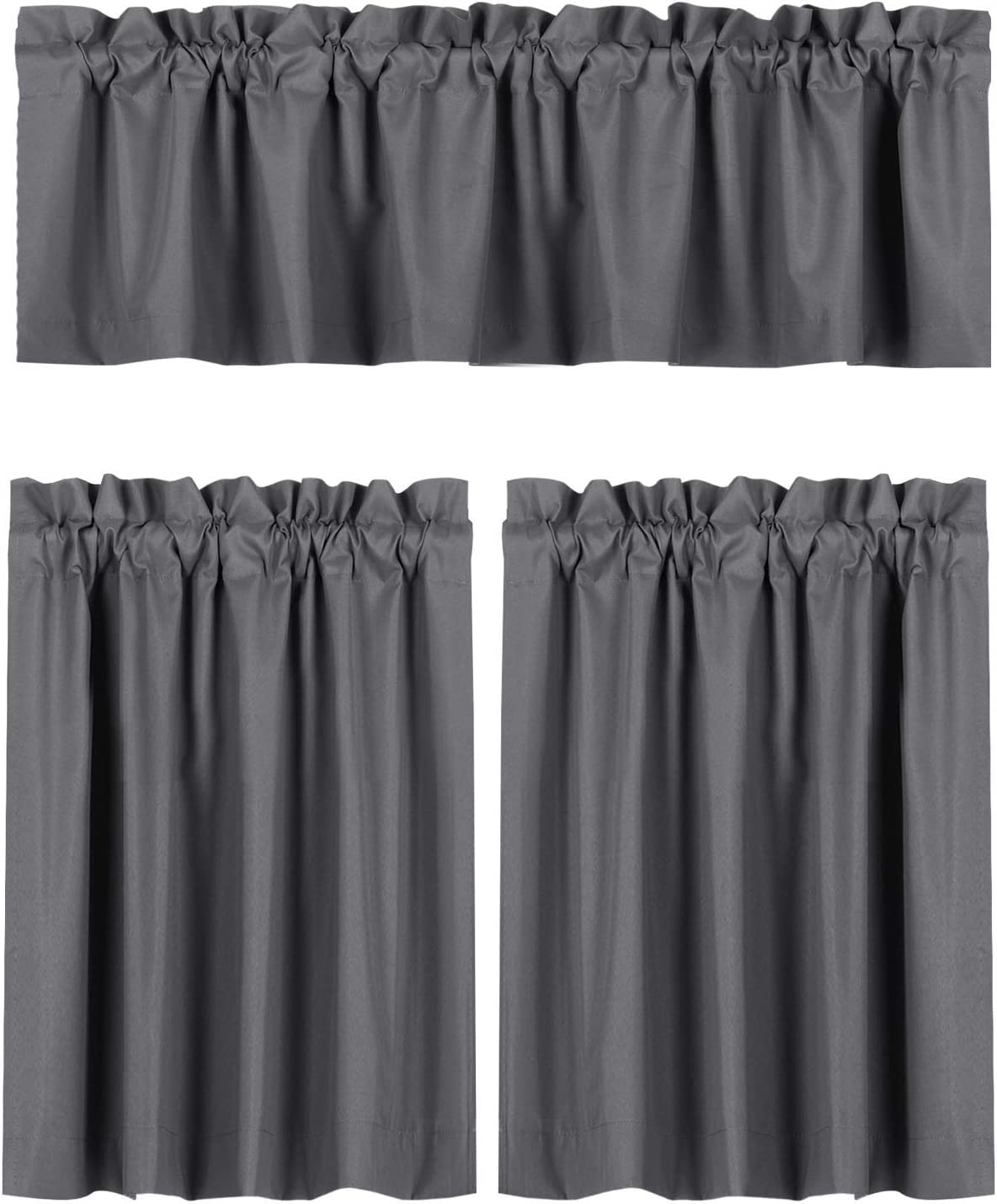 Valea Home Blackout Curtains Kitchen Curtain Set, Valance and Tiers 36 inches Length, Grey