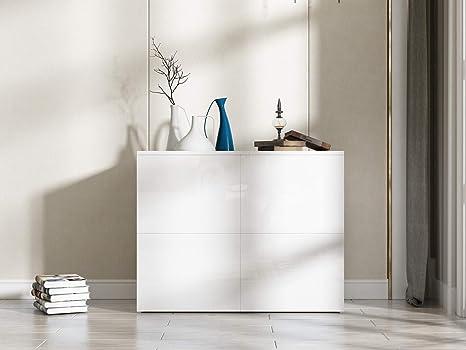 Credenza Bianca Per Soggiorno : Cocoarm mobile credenza moderna bianca legno lucida per