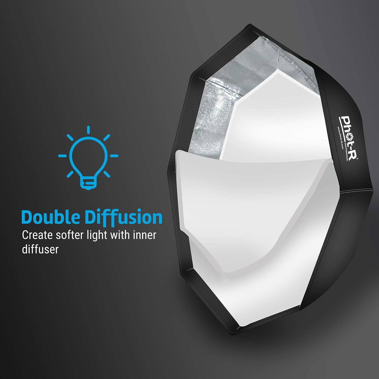 Phot-R Profesional 80/cm//32/Pulgadas Octagon Softbox Reflector con Bowens S-Type Velocidad Anillo Cartucho de Abeja/ /Negro