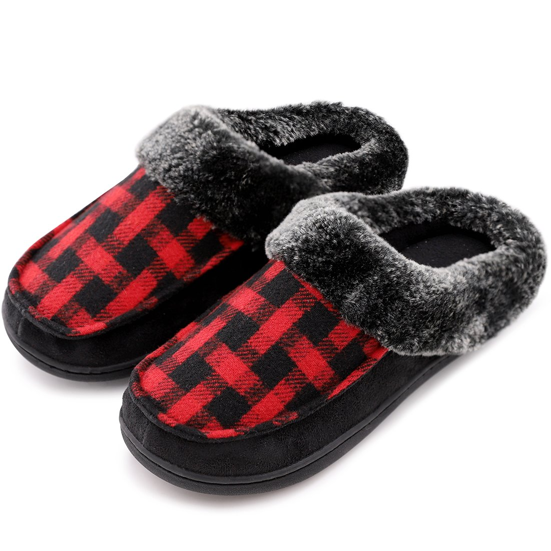 Men's & Women's Comfy Wool Plush Fleece Slip On Memory Foam Clog House Slippers w/Plaid Upper Indoor, Outdoor Sole