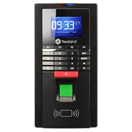 Huellas dactilares tiempo reloj, Realand biométricos Control de acceso RFID lector de asistencia Tarjeta contraseña para empleados negro: Amazon.es: ...