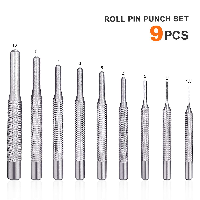 Montre PP01 R/ésistant /à la Corrosion Outil avec Support pour lautomobile Armurerie 5 2 7 10 4 8 TACKLIFE Chasse-goupilles 9 Pi/èces en Chrome Vanadium en Acier Renforc/é 1.5 6 3