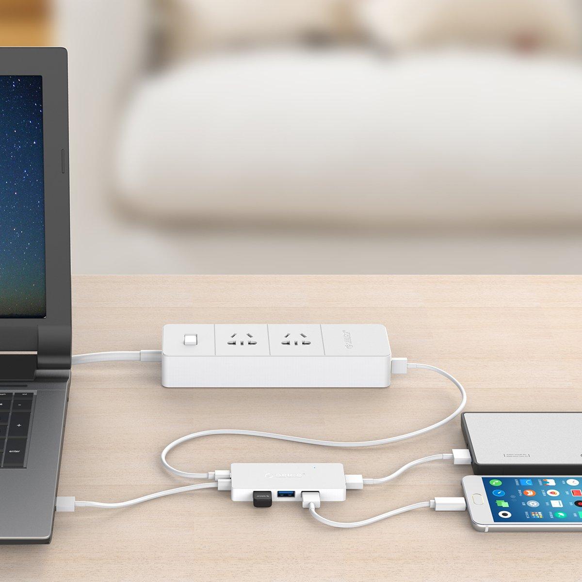 Bianco Supporta OTG Sottile e Portatile ad altissima velocit/à ORICO USB 3.0 HUB a 4 Porte con Porta USB di Alimentazione Micro-B 5 V riservata per la Ricarica Fino a 5 Gbps