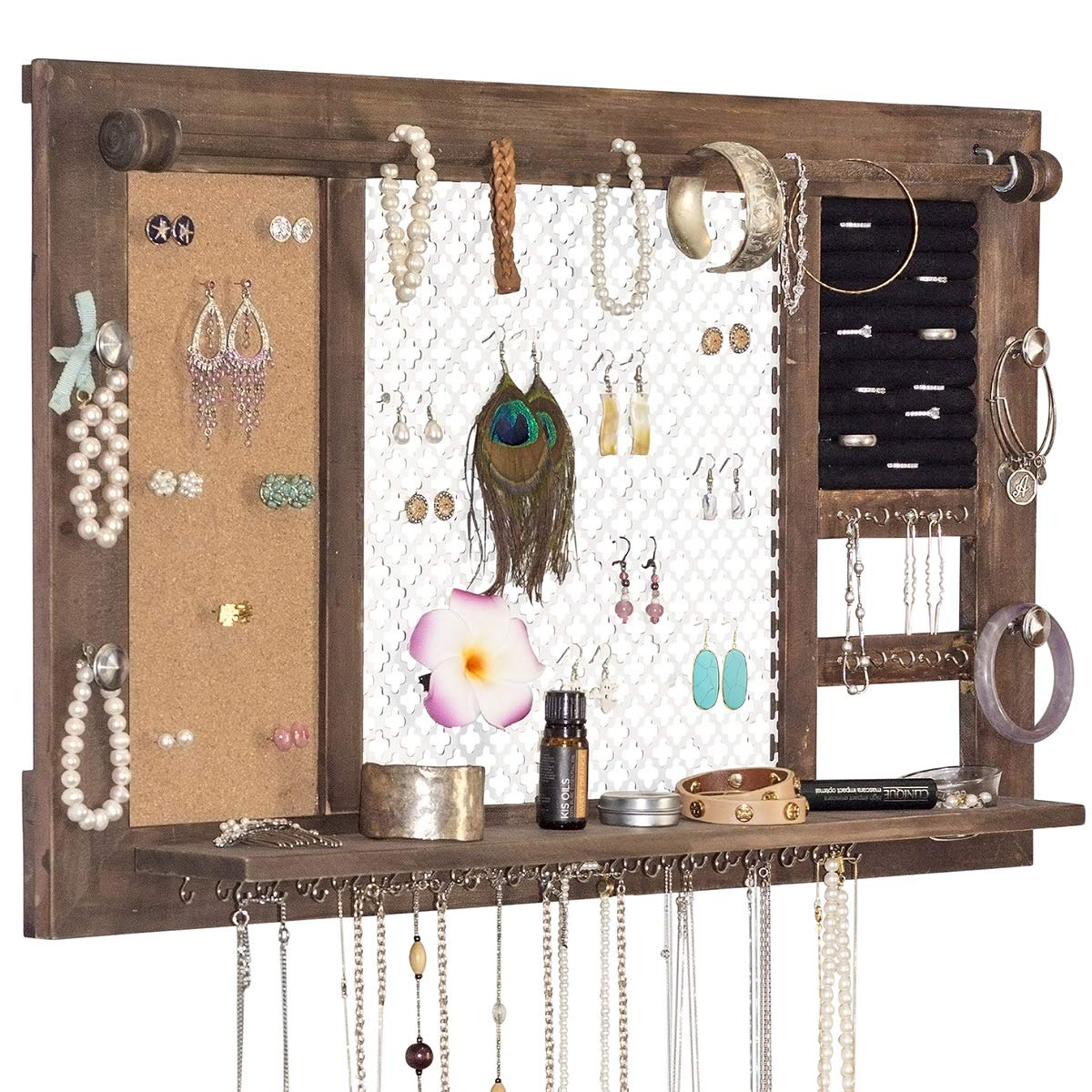 SoCal Buttercup Deluxe Rustic Wood Jewelry Organizer - from Hanging Wall Mounted Wooden Jewelry Display - Organizer for Earrings, Necklaces, Bracelets, Studs, and Accessories