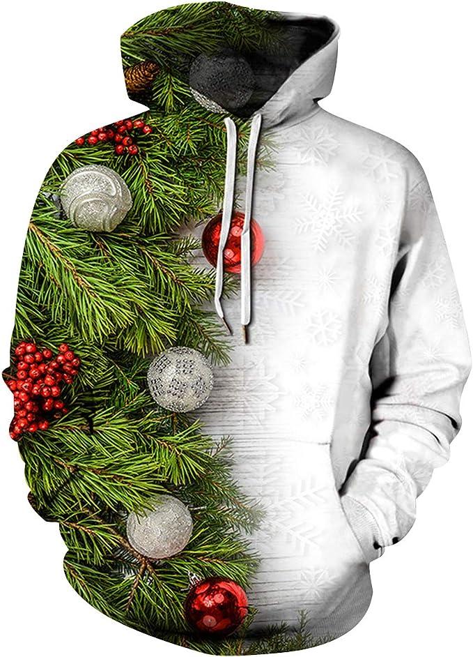 NEWISTAR Sweat Unisexe Homme Femme Pull de No/ël Santa Impression,M,Multicolor