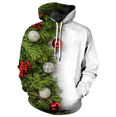 f66e23d42e3 Pull de Noel Homme Sweat a Capuche Pull Moche de Noël Lumineux Drole Sweat  Shirt Kitsch