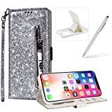 Glitter Wallet Case for iPhone XS Max,Strap