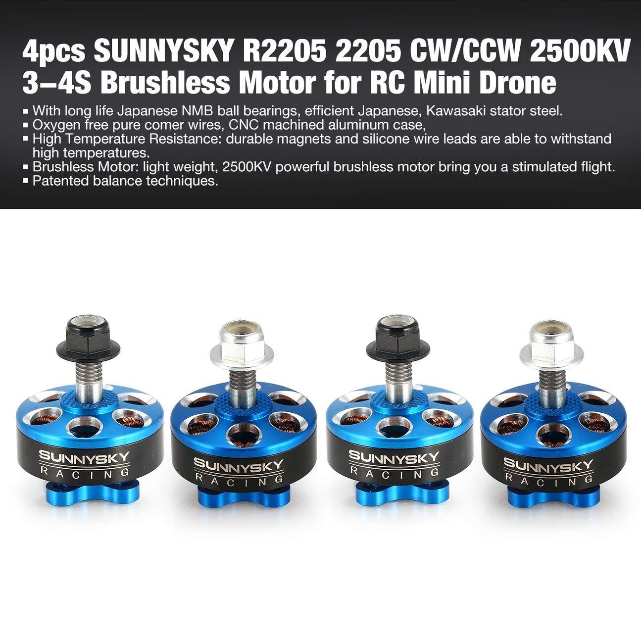 4 unids R2205 2205 CW/CCW CW/CCW CW/CCW 2500KV 3-4S Motor sin escobillas para FPV RC Mini Racing Drone UAV Multicopter Quadcopter Azul 2d146a