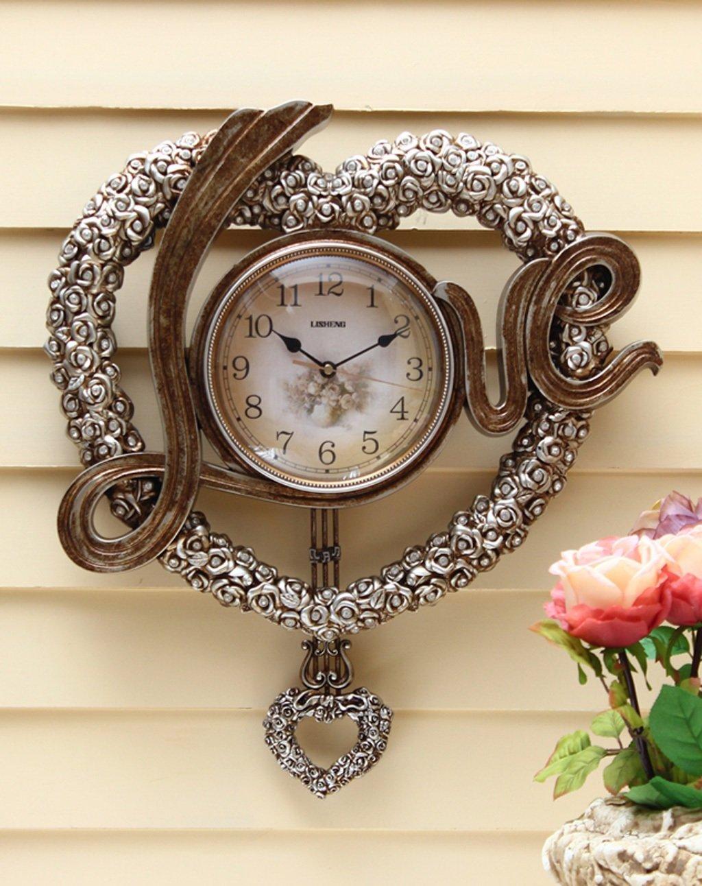 ZHENAI ハート型の壁掛け時計、ファッションリビングルームアート時計ウェディングハイエンドウォールクロックベル ( 色 : B , サイズ さいず : 12インチ ) B07BJY96Y2 12インチ|B B 12インチ