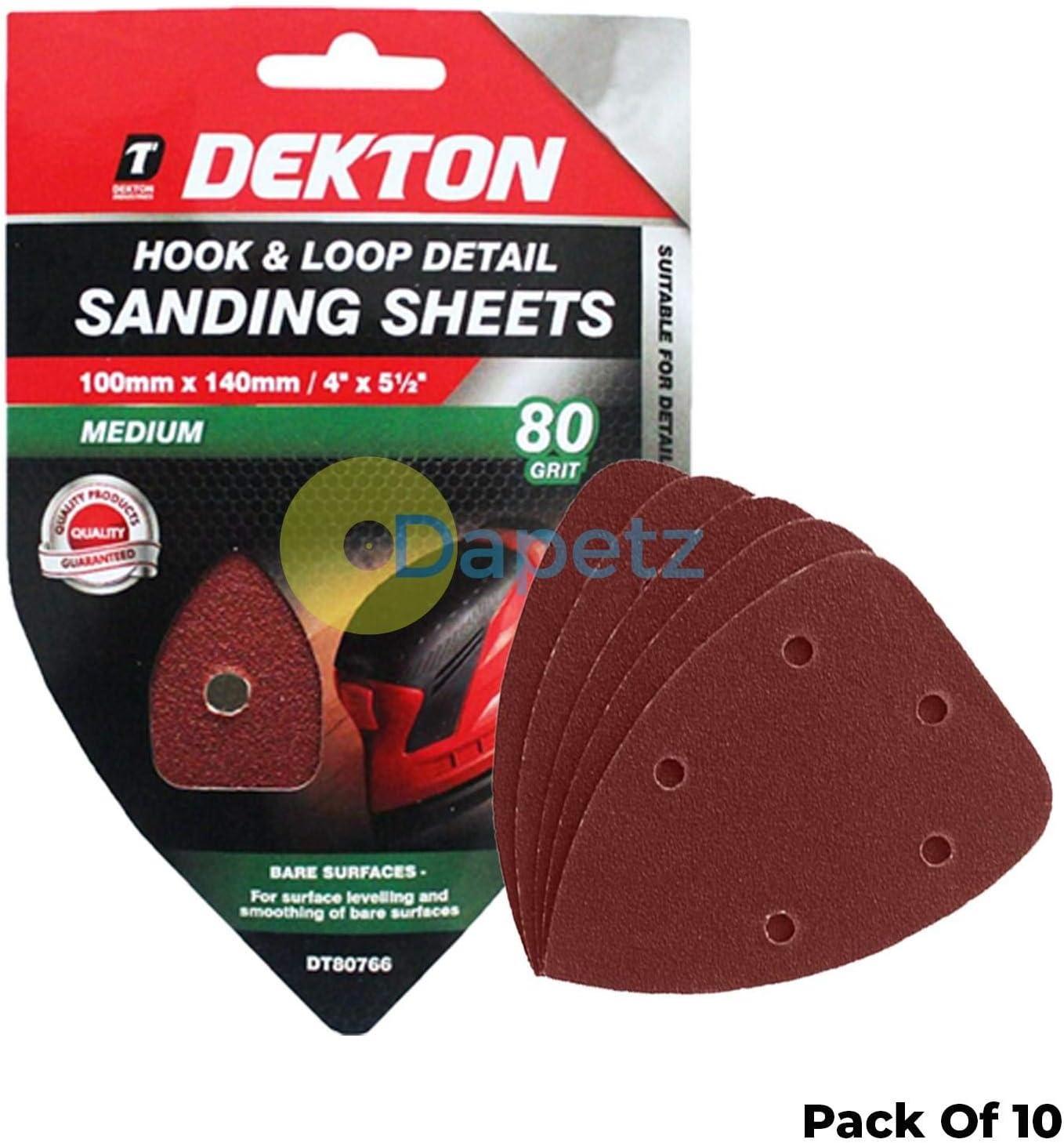 Dekton 10x 80 Grit Hook and Loop Sander Sheets 100 x 140mm