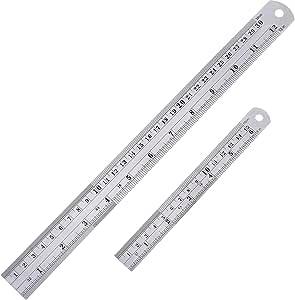Paquete de 2 reglas rectas, de acero inoxidable, herramienta de medición (15 y 30 cm).: Amazon.es: Oficina y papelería