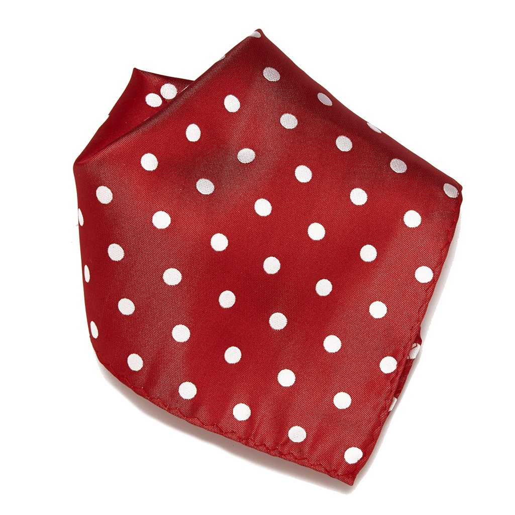 RED with WHITE Polka Dots Handkerchief Pocket Square Hanky Men's Handkerchiefs Vesuvio Napoli