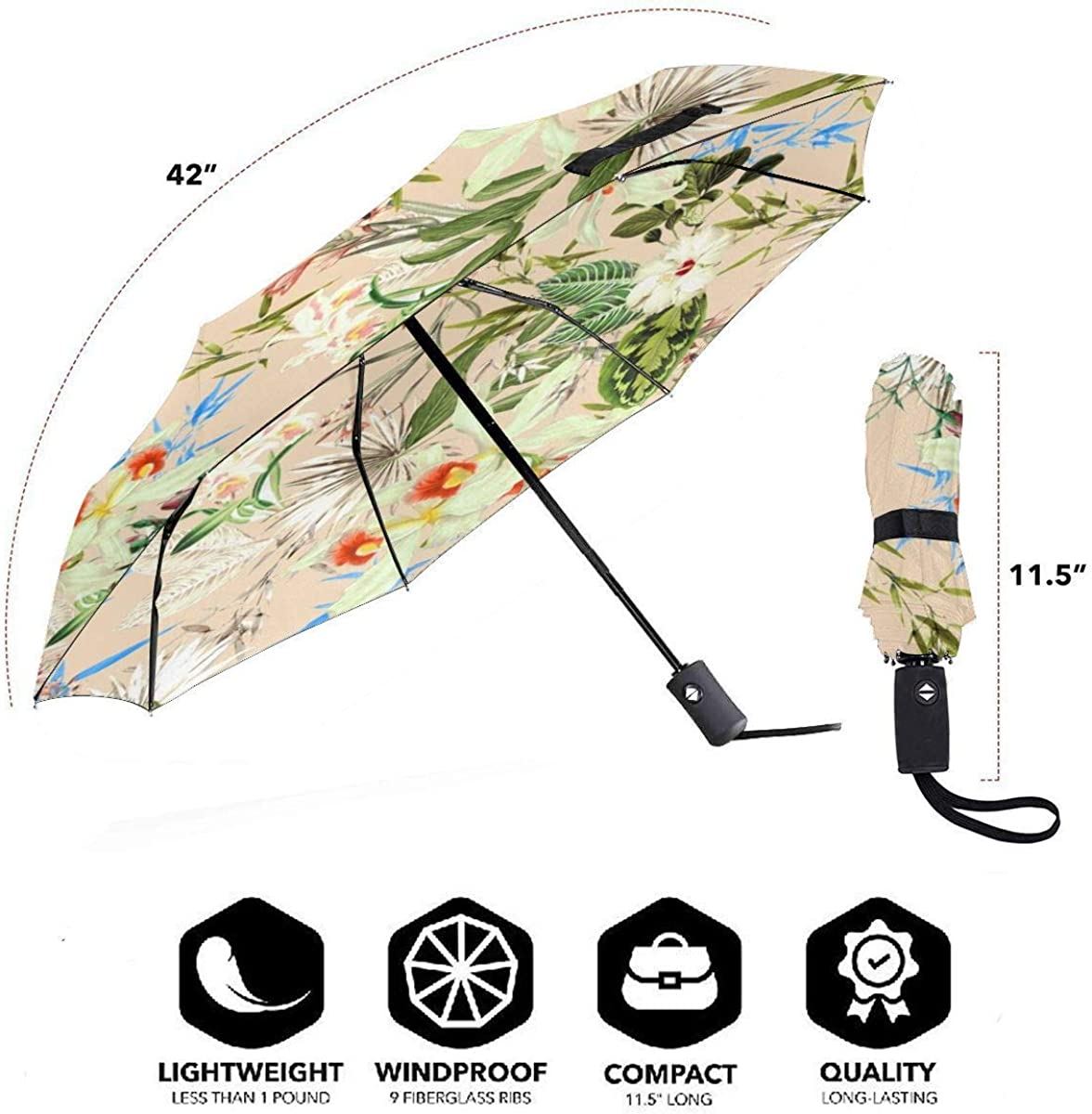 Vintage Design Flower Tropical Leaves Compact Travel Umbrella Windproof Reinforced Canopy 8 Ribs Umbrella Auto Open And Close Button Personalized