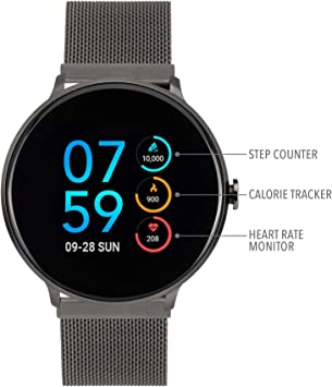 iTouch Sport Digital Smartwatch and Pedometer - Mesh Strap (Gunmetal)