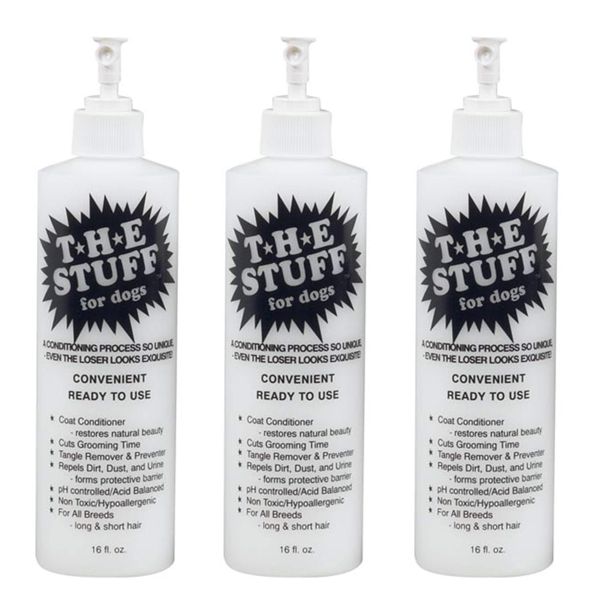 The Stuff Dog Conditioner Detangler Spray for All Coat Types 3 Pack Ready to Use Total 48 Oz