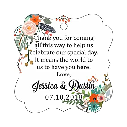31942a5b4a8 Darling Souvenir Custom Wedding Thank You Message Gift Tags Personalized  Party Favor Hang Paper Tags-Floral White-50 Tags