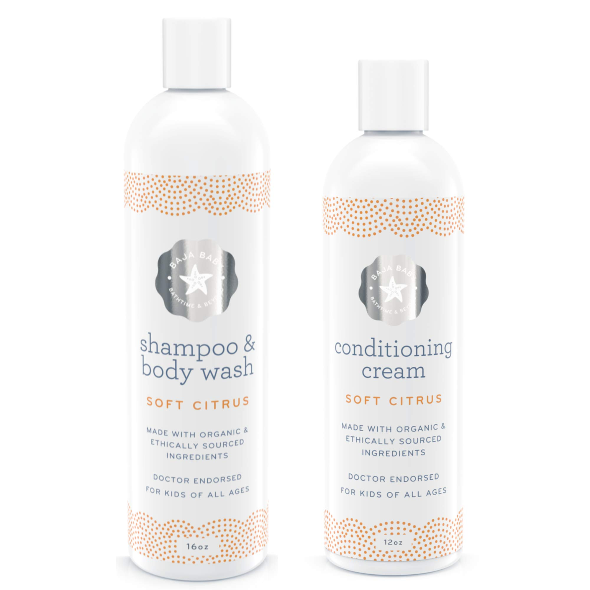 Baja Baby Set Of 2-10% Off - Organic Citrus Shampoo & Citrus Conditioner - EWG Verified - Family Size - No Sulfates, Parabens or Phosphates - Pure Hair & Skin Care For Kids by Baja Baby
