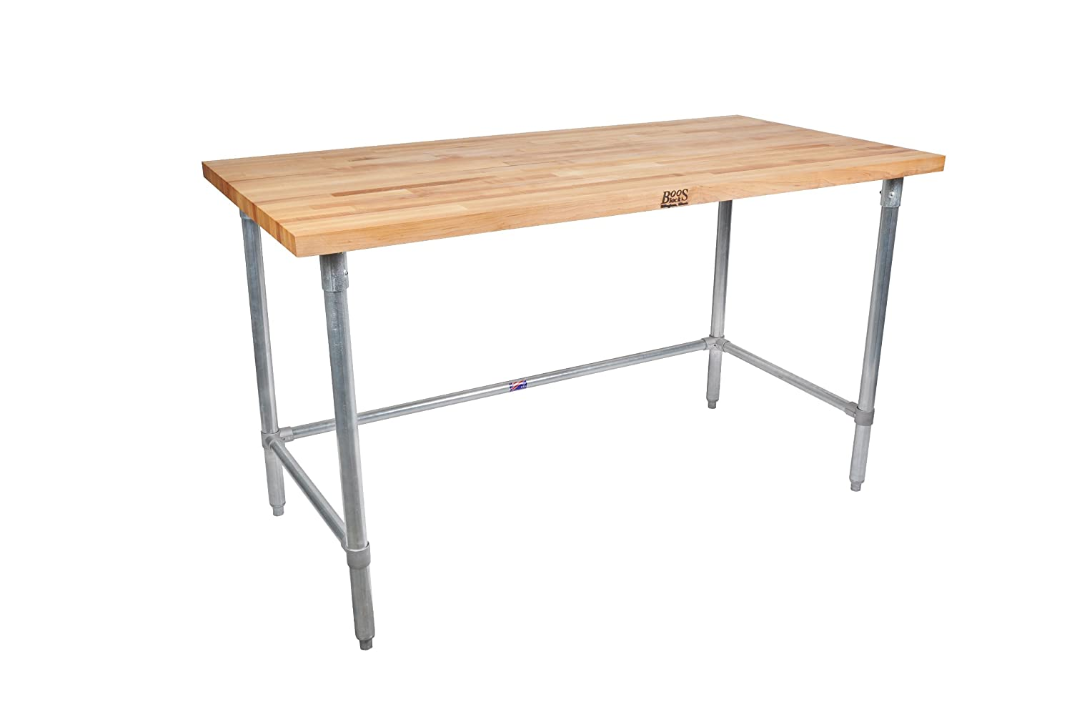 "John Boos JNB08 Maple Top Work Table with Galvanized Steel Base and Bracing, 48"" Long x 30"" Wide x 1-1/2"" Thick"