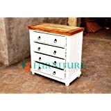 VK Furniture Mango Wood Chest of Drawers | Wooden Sideboard | 4 Drawers | Glossy White Finish