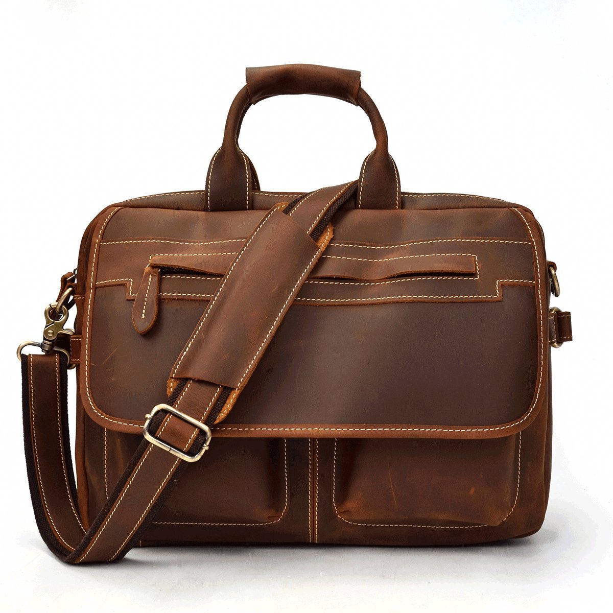 Business Work Bag, Men's Genuine Leather Laptop Briefcase Brown High-Capacity A4 Top Grain Cowhide Leather Shoulder Messenger Bag (Light Brown) by Luufan