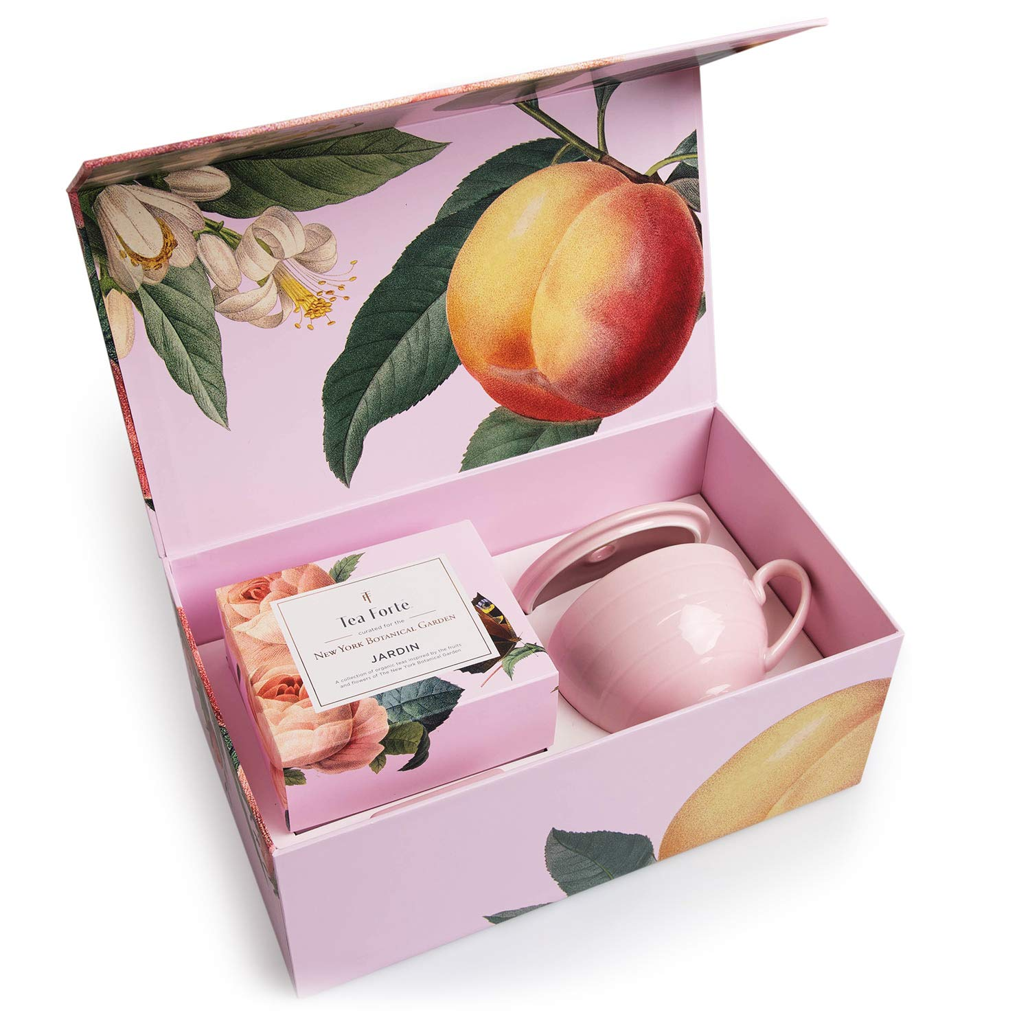 Tea Forté JARDIN Gift Set with Pink Cafe Cup, Tea Tray and 10 Handcrafted Pyramid Tea Infuser Bags