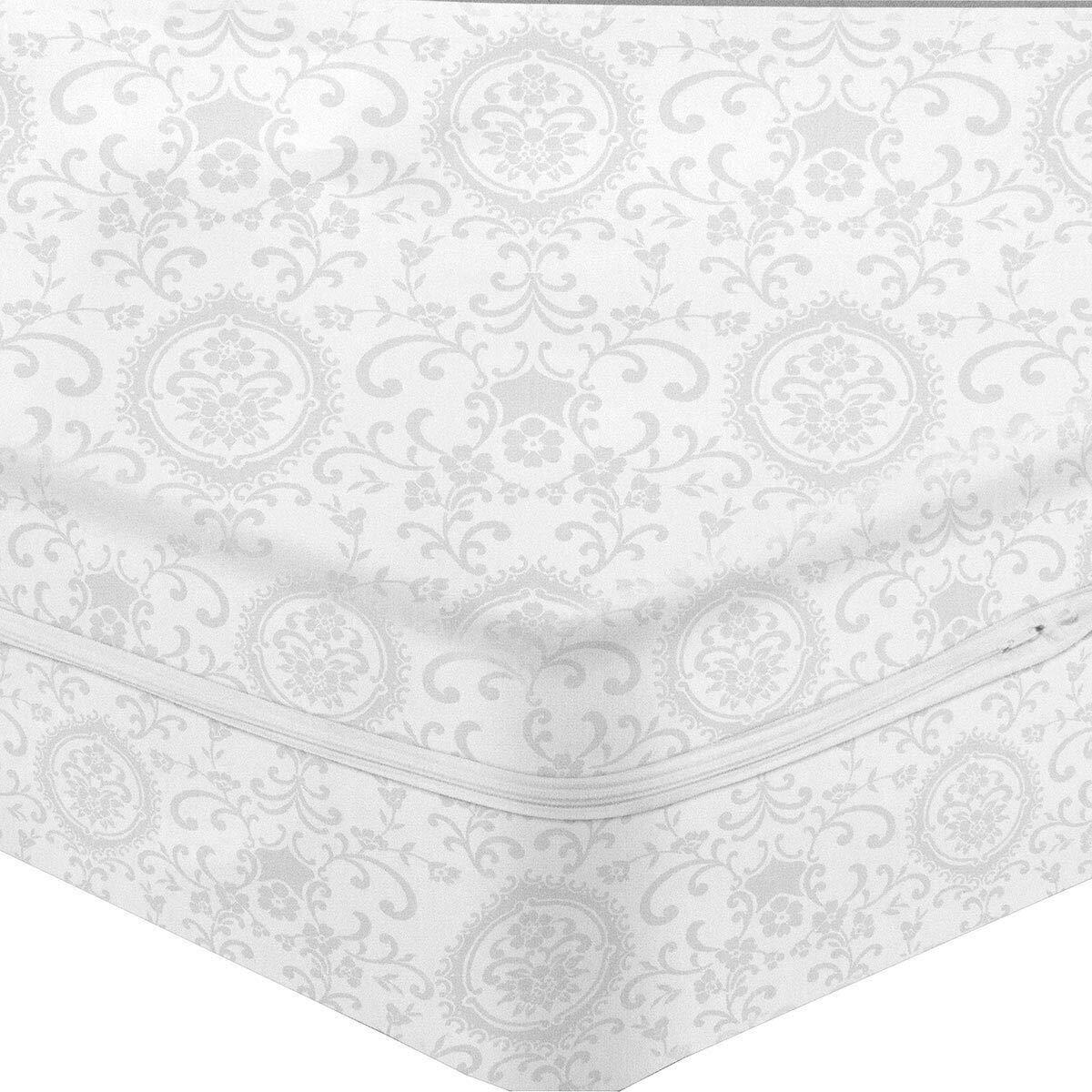 CARILLO Fodera Coprimaterasso in Cotone damasco con cerniera dimensioni varie S514 Matrimoniale