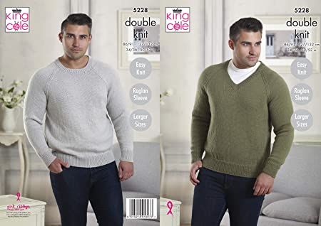d00e96bbe87079 Image Unavailable. Image not available for. Colour  King Cole Mens Double  Knitting Pattern Easy Knit Raglan Sleeve Round or V Neck ...