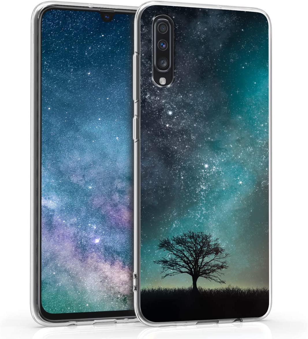 kwmobile Case Compatible with Samsung Galaxy A70 - TPU Crystal Clear Back Protective Cover IMD Design - Cosmic Nature Blue/Grey/Black
