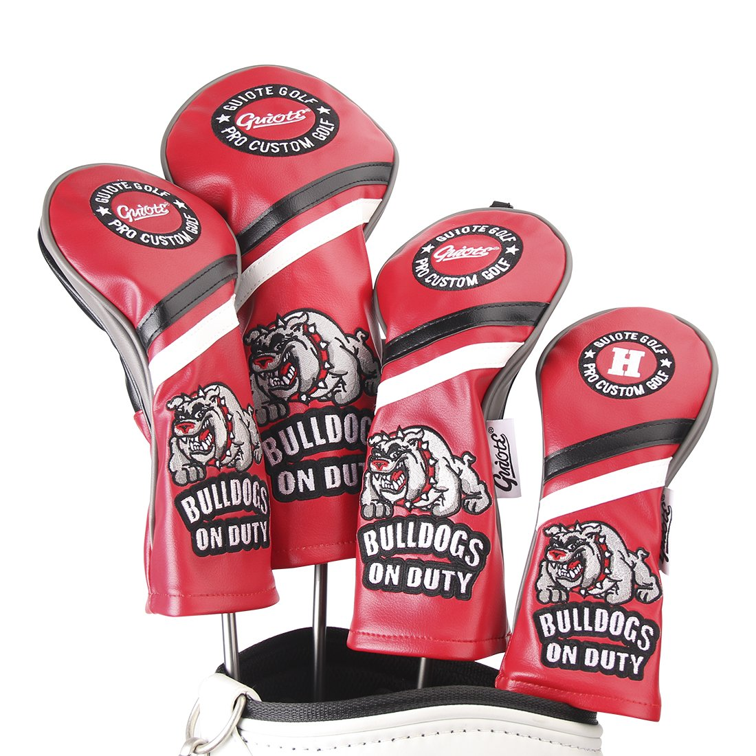 Guiote ゴルフヘッドカバー Golf head covers クラブヘッドカバー ウッドカバー ドライバー 新デザイン 交換可能な番号タグ付き(#2.#3.#4.#5.X) 4個セット B076NPRNXH Bulldogs-Red Bulldogs-Red