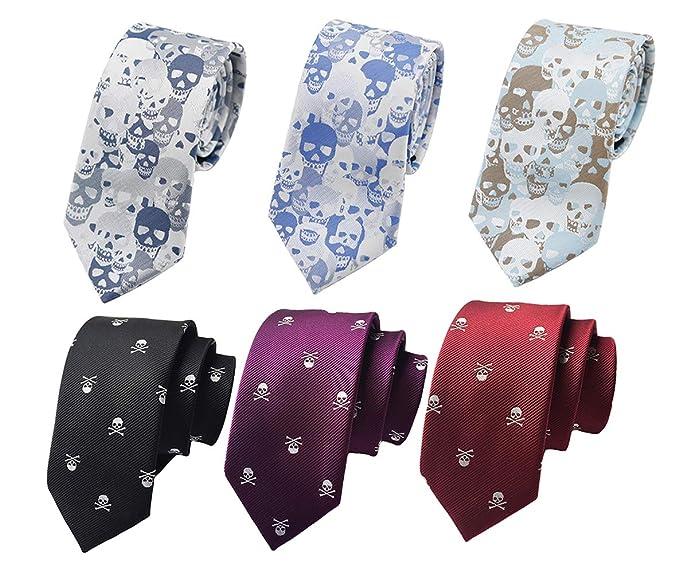 Amazon.com: Lote de 6 corbatas unisex con diseño de calavera ...