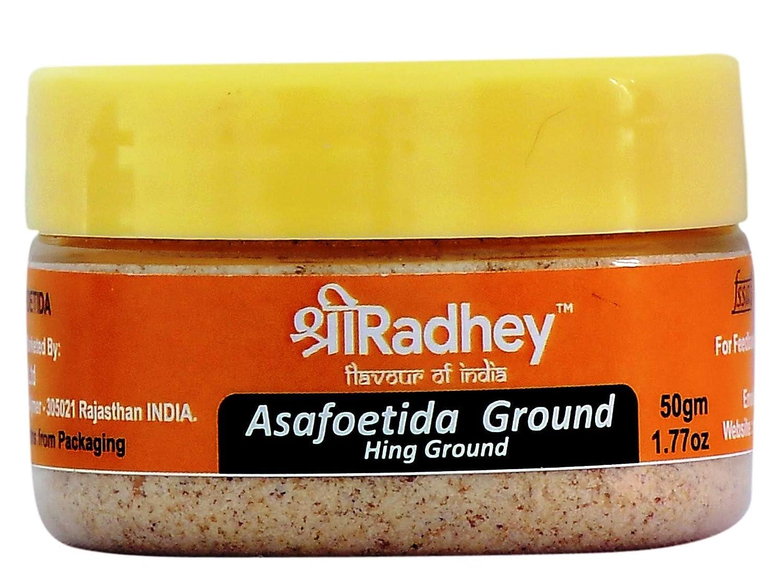 Shree Radhey Asafoetida (Hing) Ground 1.77 oz (50 gm) All Natural   Salt Free   Vegan   Asafoetida Indian Spice   Best for Onion Garlic Substitute  Indian Origin   Food Grade PET Jar