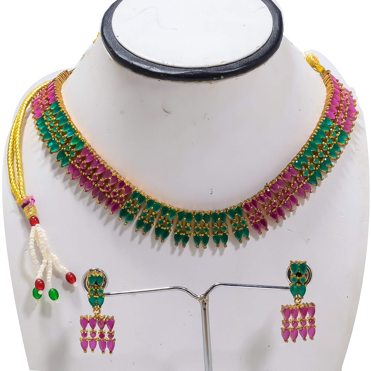 Jewar Mandi Necklace Set Emerald Ruby Multi Gemstones Designer