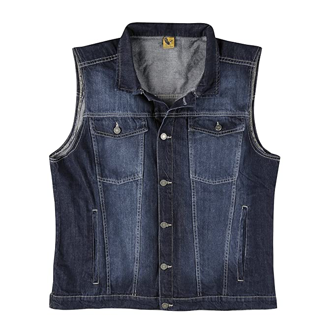 Jeansweste Herren Denim Biker Weste Kutte blau S 4XL
