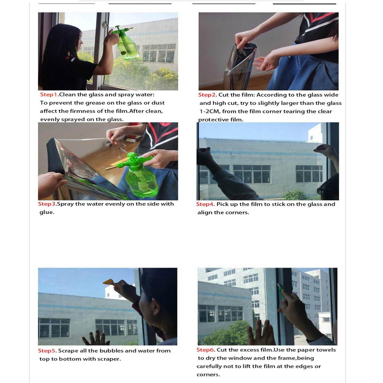 HOHOFILM 60'' x 33ft Roll One Way Window Glass Film Reflective Silver Mirror Glass Tint Daytime Privacy Sun Blocking Anti UV Self-Adhesive by HOHOFILM (Image #7)