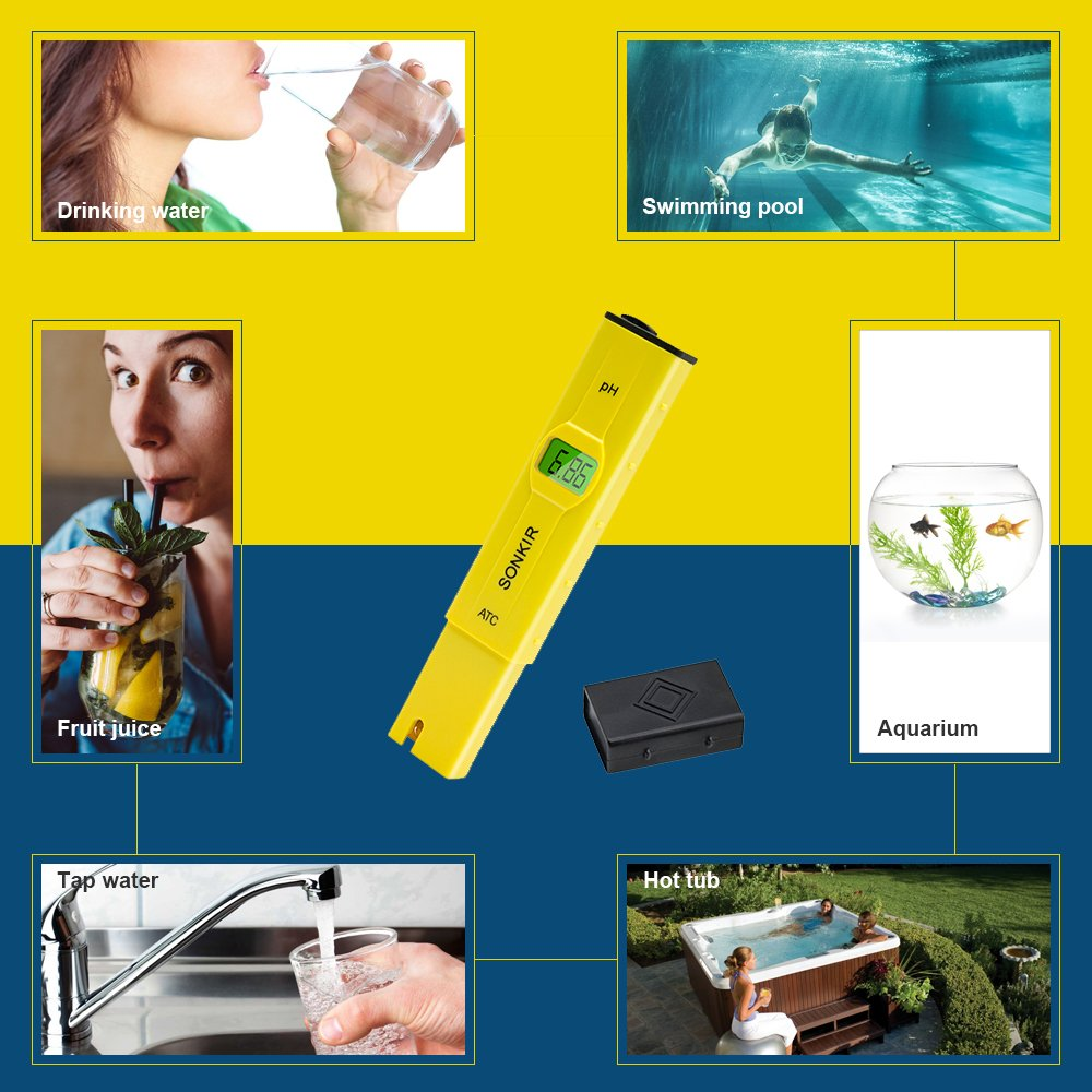 Sonkir pH Meter, Digital pH Tester/Water Quality Tester for Drinking Water, Swimming Pools, Aquariums, Hydroponics, ATC Function, 0.1 Accuracy, Backlit LCD Display