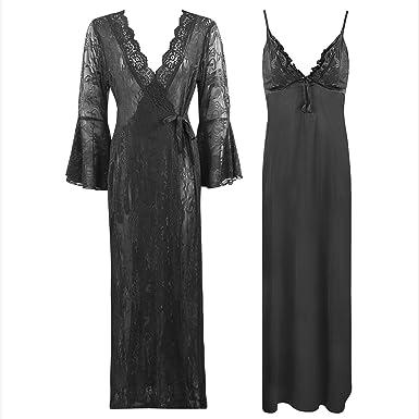 23a46627c2 The Orange Tags Ladies Satin LACE Nightdress Ladies Nighty Bridal Dressing  Gown-Black-One Size  Regular (8-14)  Amazon.co.uk  Clothing