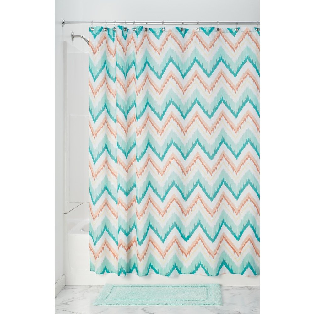 Coral and aqua shower curtain - Interdesign Ikat Chevron Fabric Shower Curtain Coral Teal