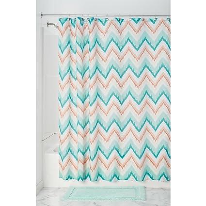 InterDesign Ikat Chevron Fabric Shower Curtain Coral Teal