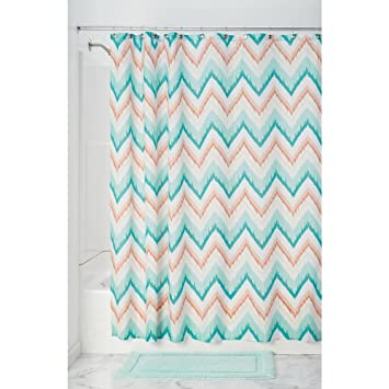 InterDesign Ikat Chevron Fabric Shower Curtain Coral Teal