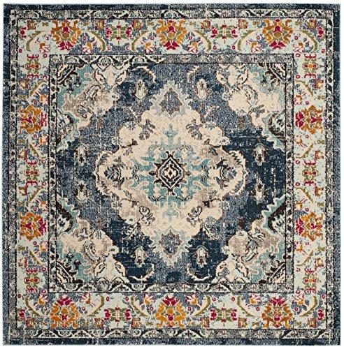 Blue Wool Rug (Safavieh MNC243N-3SQ Monaco Collection Premium Wool Area Rug, 3'/Square, Navy/Light Blue)