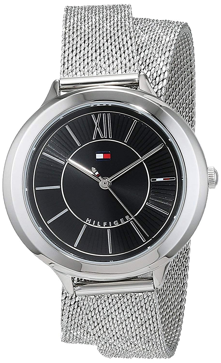 Amazon.com: Tommy Hilfiger Womens Silver-Tone Silicone Band Steel Case Quartz Black Dial Analog Watch 1781855: Watches