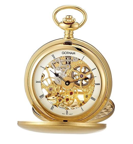 Gotham reloj para hombres mecánicos reloj de bolsillo con soporte de sobremesa # gwc18801g-st: Amazon.es: Relojes