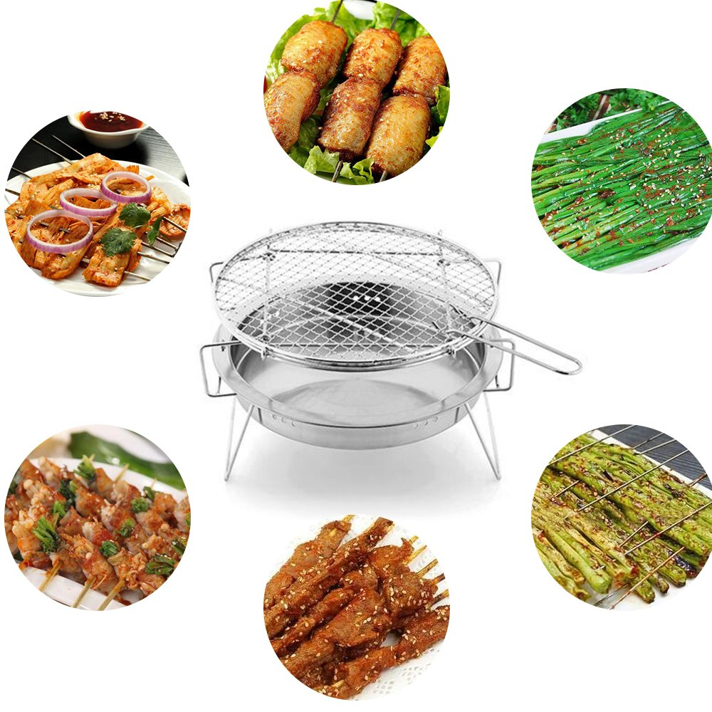 RuiXiang Stainless Steel BBQ Grill - Folding Portable Charcoal Grill Tabletop Barbecue Grill,for Outdoor Cooking Camping Hiking Picnics Lightweight BBQ Tools (L)