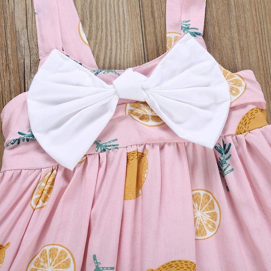 GorNorriss Bow-Knot Fruit Print Suspender Princess Skirt Baby Girls Dance Dress