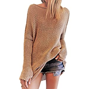 ae518b065d FORTULY Women s Casual Crew Neck Knit Sweaters Loose Fashion Pullover Top