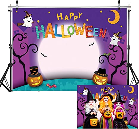 DaShan 10x10FT Cartoon Cute Bat Ghost Witch Pumpkins Backdrop Halloween Party Photography Background Photo Party Decoration Adults Portrait Photo Studio Props